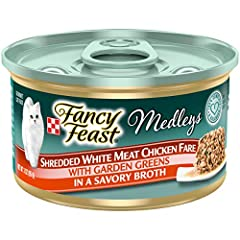 Twenty-Four (24) 3 Oz. Can - Purina Fancy Feast Medleys Shredded White Meat Chicken Fare With Garden Greens In A Savory Broth Adult Wet Cat Food Tender White Meat Chicken For A Savory Flavor Cats Crave Accents Of Garden Greens Add An Artful Touch The...