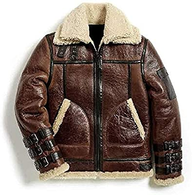 Men's WWII Aviator B3 Shearling Brown Sheepskin Flight Bomber Leather Jacket : Special (3XL)