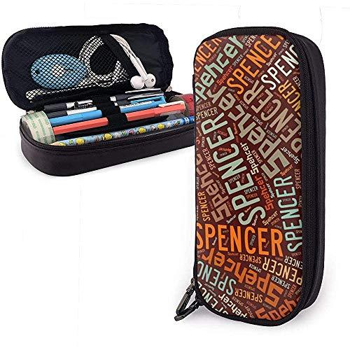 Spencer Nombre americano Gran capacidad Estuche de cuero Estuche para lápices Estuche para lápices Bolsa de almacenamiento grande Organizador Caja Marcador de oficina Bolso de estudiante