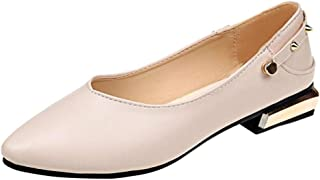 iCJJL Flats Shoes for Women - Classic Pointy Toe Slip-on Faux Leather Comfy Loafer