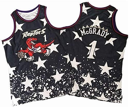 xiaotianshi Jerseys de la NBA de los Hombres - Raptors # 1 Tracy McGrady Fresco Fresco Transpirable Resistente al Desgaste Transpirable Vintage Basketball Jerseys Top Camiseta,XXL