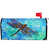 Wamika Spring Gold Blue Dragonfly Mailbox Cover Magnetic Oversized, Animal Floral Oil Letter Post Box Cover Wrap Decoration Welcome Home Garden Outdoor 25.5' L X 21' W