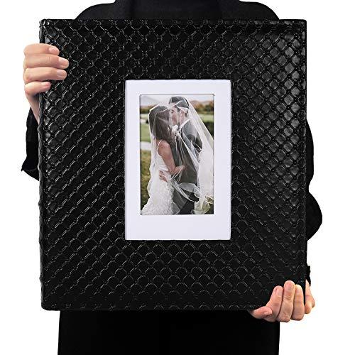 RECUTMS Album Foto con 600 Tasche Album con Copertina Modello Classico Bottone Nero può Contenere Album di Foto 10x15 cm Orizzontali E Verticali Album Fotografico Amore (Nero)
