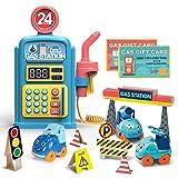 welltop Giocattolo per Pompa di Benzina, Giocattolo per Pompa di Benzina Premium Playset Giocattoli educativi per la Stazione di Servizio, Fai Finta di Giocare Toy Girl Boy Regalo per Bambini 3+