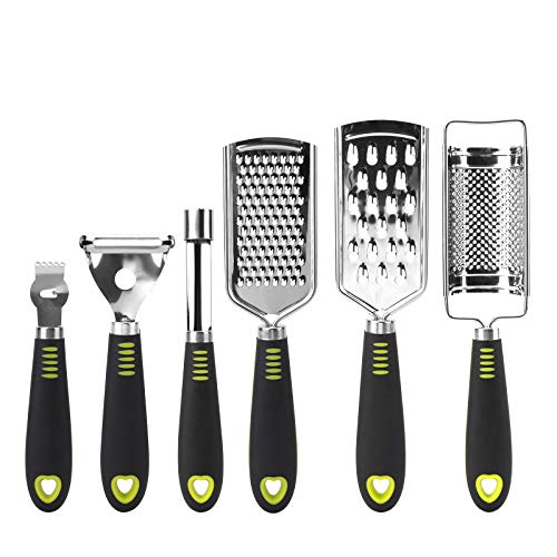 Yarlung 6 Pack Hand Held Grater Peeler Corer Set Stainless Steel Blade Multipurpose Zester Kitchen Food Grater Slicer for Cheese Lemon Ginger Garlic Nutmeg Vegetable Fruit Chocolate