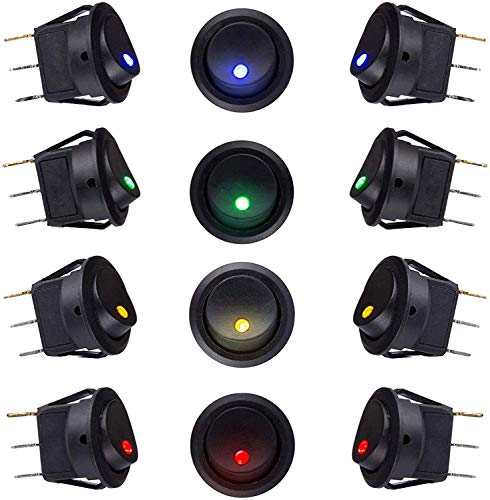 Ruesious 12 piezas DC 12V 20A LED Juego de botones de interruptor con iluminación automática, interruptor de palanca basculante redondo Presione el botón para automóvil, con luz LED de 4 colores
