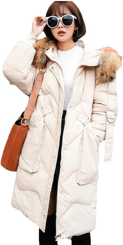 Desolateness Women's Warm Faux Fur Down Coat Hood Parka Winter Puffer Jacket