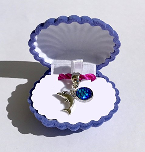 Mermaid Girls Blue Dolphin Necklace with Velvet Shell Gift Box