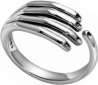 LEOBELLA Real 925 Sterling Silver Hug Ring ، خواتم يد مفتوحة للنساء الفتيات الرجال زوجين خمر التفاف إصبع خاتم العصابات خمر...