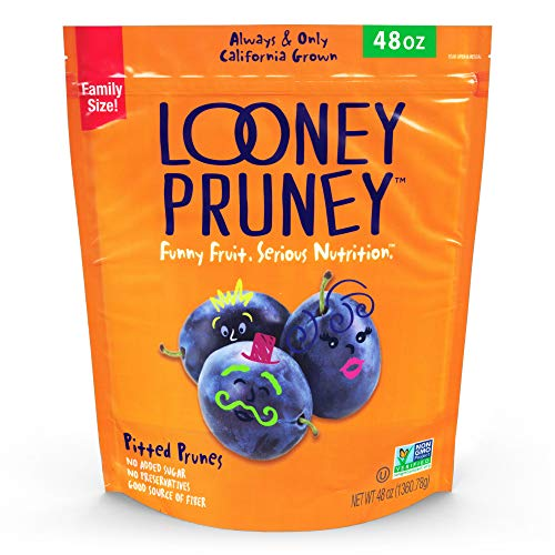 Looney Pruney Preservative Free California Pitted Prunes / Non-GMO Project Verified (48 oz)