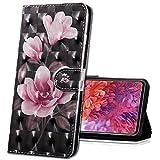 MRSTER LG Q60 Handytasche, Leder Schutzhülle Brieftasche Hülle Flip Hülle 3D Muster Cover mit Kartenfach Magnet Tasche Handyhüllen für LG K50 / LG Q60. BX 3D - Pink Camellia