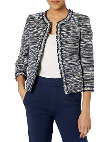 Tahari ASL Women's Pearl Trim Jacket, Blue Metallic Boucle, 14