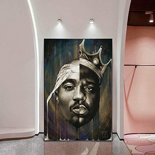 KWzEQ Porträt Wandkunst abstraktes Plakat und Druckgrafik Rapper Leinwand Druckgrafik Home Decoration Art,Rahmenlose Malerei,30x45cm