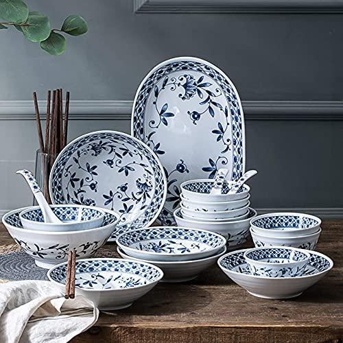 ZJZ Juegos de vajilla de cerámica, vajilla de Porcelana Azul y Blanca, Juego de 45 tazones de Cereal y Plato de Carne Simplicity para Cena Familiar