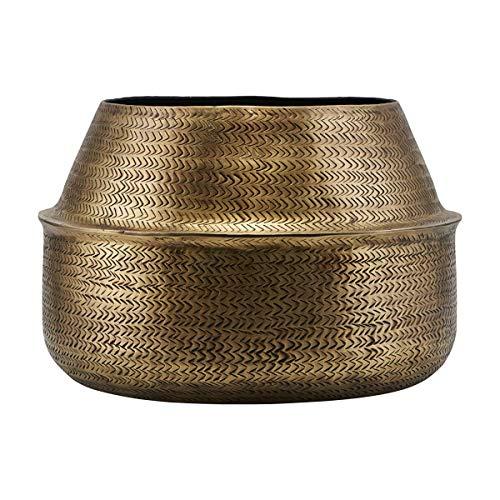 House Doctor Pot en rotin avec Finition Laiton, Hauteur : 24 cm, diamètre : 38 cm