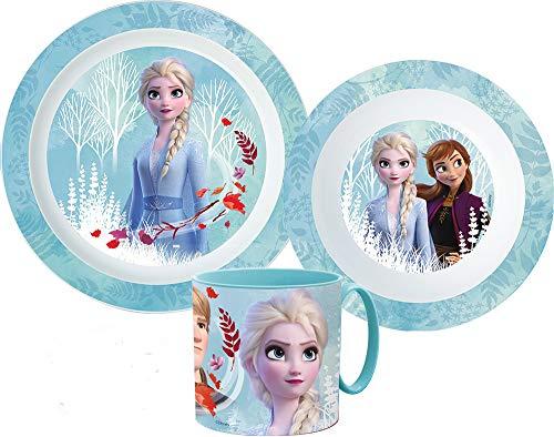 Die Eiskönigin Kinder-Geschirr Set mit Teller, Müslischale und Trinkbecher inkl. Notizblock