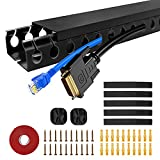Updated Cable Raceway Kit, 31(2x15.5) inch Open Slot Wire Covers for Cords, Under Desk Cable Management System to Hide Under Desk/TV/Computer/Net/Power Cords, 2X L15.5inch (Pack 2)