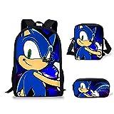 YUNXING Sonic Escolares Mochilas 3pcs / Set 2020 Mochilas para Niños Sets Pretty Sonic The Hedgehog Print Fashion Girl Boy School Kid Bookbag Bolsas De Hombro Diarias