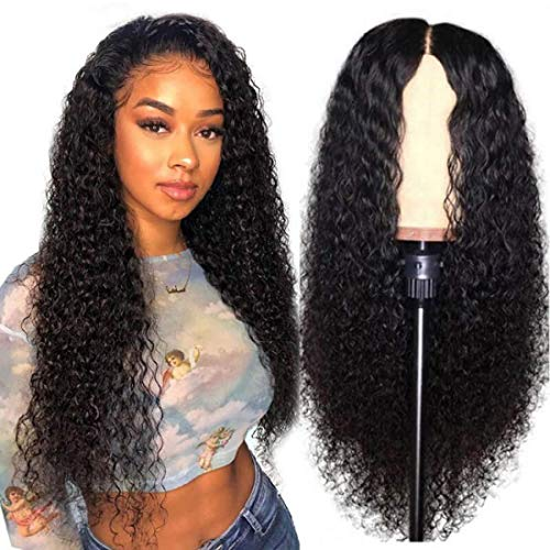 UNice Hair Jerry Curly 13x4 Lace Front Human Hair Wigs 180% Density, Unprocessed Brazilian Virgin Hair Free Part Wig Pre Plucked with Baby Hair (16 inch)
