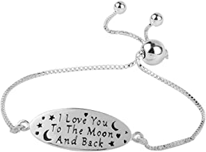 LeCalla Sterling Silver Jewelry Love You To The Moon and Back Sliding Bolo Bracelet for Women