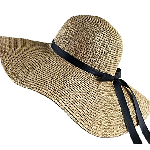 MGZQ 弓の大きなつばが付いている折り畳み式の麦わら帽子、女性のための夏の屋外ガーデンビーチ日焼け止め帽子