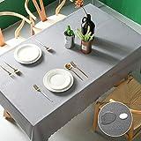 Pahajim Moderno Mantel de PVC Color Liso Mantel Impermeable Mantel Mesa Rectangular Antimanchas Tablecloths para (Gris, Cuadrado,140x140cm, 4 Asientos)