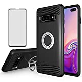 Asuwish Phone Case for Samsung Galaxy S10 Plus with Tempered Glass Screen Protector Cover Cell Accessories Magnetic Ring Holder Stand Kickstand Glaxay S10+ S10plus Edge S 10 10plus SX 10S Women Black