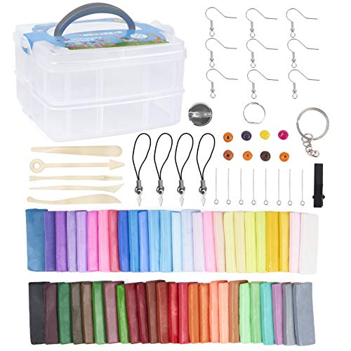 THE TWIDDLERS 50 Colores Kit de Arcilla Modelar de Polímero con Herramientas, Accesorios y Maletín - Amplia Variedad Colores, Suave, Tóxico.