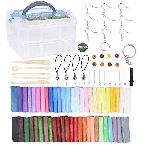 50 Colores Kit de Arcilla Modelar de Polímero con Herramientas, Accesorios y Maletín| Amplia Variedad Colores, Suave, Alta Calidad y No Tóxico| Juguete Juego Creativo Regalo Cumpleaños Navidad Niños.