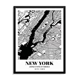 New York City Grid Map Art Print Cityscape Road Map Wall Poster 11'x14' UNFRAMED Black White Modern Urban Home Decor Artwork for Living Room, Bedroom, Entryway, Home Office or Gift (NYC)