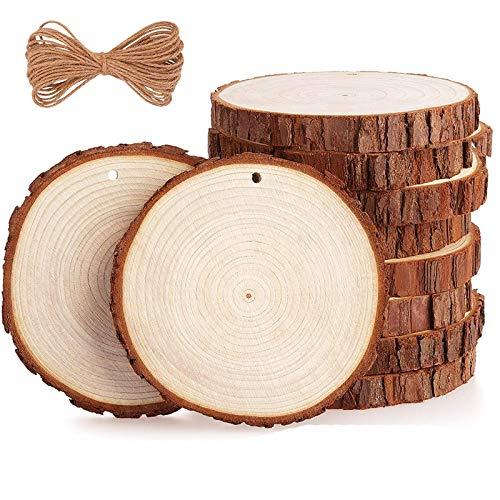 Unvollendete Holzkreise Holz Log Scheiben Holzscheiben Rund Natürliche Holzscheiben Rindenscheibe Holzscheiben handwerk 10 Stücke für Dekoration Handwerke Basteln Bemalen Scrapbook Untersetzer