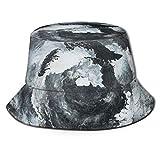Lawenp Fisherman Bucket Caps Patrón de mármol de Nube Blanca Unisex Plegable Reversible Verano Viajes Playa Sombrero para el Sol Protección ala Ancha Transpirable para Pesca Senderismo Golf