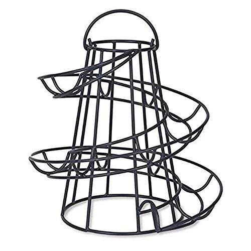 Cratone Eierkörbe Eier Aufbewahrungsregal Spiralspender Metall, Eier-Ständer Eier-Behälter Anzeigen Halter Korb für CountertopKüche, Schwarz