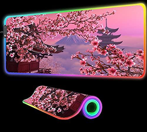Japón Cherry Blossom Alfombrilla de Ratón Grande Ordenador Jugador Grande RGB Alfombrilla Grande Alfombrilla de Escritorio Ordenador Teclado Retroiluminación 35,43 Pulgadas X 15,74 Pulgadas