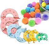 Kit de 8 pompones para hacer bolas, 4 tamaños, para hacer pompones y hacer bolas, tejedores, agujas y hacer manualidades
