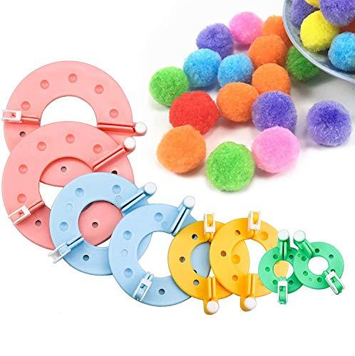 Pompom Maker, 4 Tailles de Tissage pour Fabriquer des Fabriquer Pompons Boule Maker Pattern Tricot Craft Tricot Outil Peluches Boule Tissage Weaver DIY