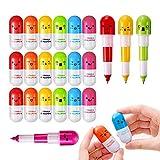 Shulaner 24 Pezzi Mini Penne Retrattili a Forma di pillole Palla Penna Telescopica Capsule, 6 Colori per Bambini, Studente, Insegnante o Impiegato