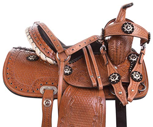 """Acerugs 10"""" 12"""" 13"""" Western Youth Kids Leather Tooled Rodeo Barrel Racing Crystal Bling Child Horse Pony Saddle TACK Set Headstall REINS Breast Collar (Silver Studded, 14"""")"""