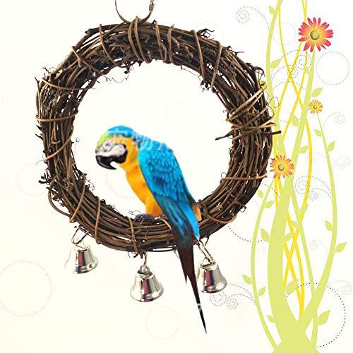 elegantstunning hout opknoping schommel ring met ballen kauwspeelgoed voor huisdier vogel papegaai staande