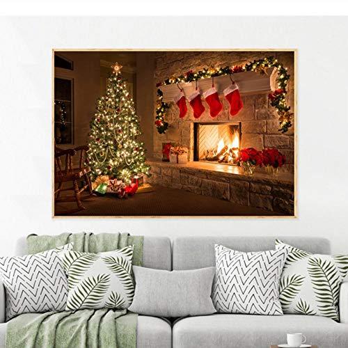 Terilizi muurkunst poster kerstboom geschenken open haard avond huis Nieuwjaar canvas schilderij voor de woonkamer wooncultuur druk afbeelding Home-60 x 90 cm geen lijst