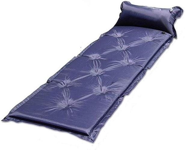 Produits d'extérieur Tapis en mousse de tente gonflable avec oreiller attaché Matelas imperméable léger en plein air de matelas d'air extérieur pliable auto-gonflant Camping simple épissage de matelas