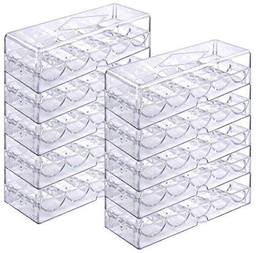 Poker Chip Tray Set für 1.000 Pokerchips - 10 Trays mit Deckeln für je 100 Chips - Chip-Gestell / -Tablett, durchsichtig, Acryl