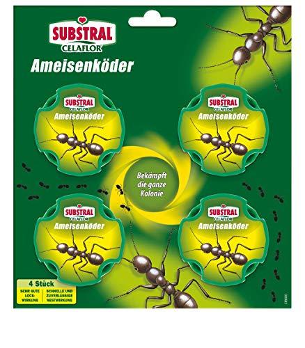 Appât à fourmis Substral Celaflor, pour lutter contre les fourmis dans la maison et sur les terrasses avec effet nidification rapide, 4 pièces