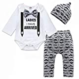 Baby Boy Girl Clothes Romper Outfits 3Pcs Newborn Infant Clothing Long Sleeve Letter Print Romper Tops+Beard Pants+Hat Ladies I Have Arrived 0-3 Months 70cm