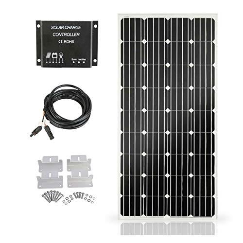 SARONIC 160W 12V Panel Solar Kit-160W Panel Solar + 10A Controlador de Carga de luz LCD + 3m Cable Adaptador + Soportes de Montaje