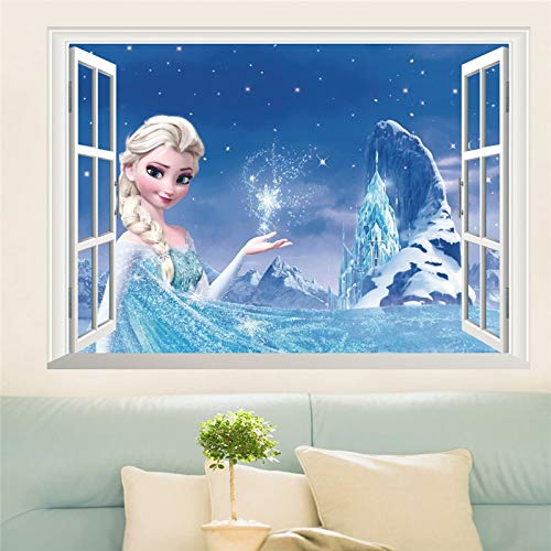 Best Quality - Wall Stickers - vivid cartoon frozen wall stickers for kids room bedroom diy wall decoration stickers 3d anna princess movie posters - by LEV - 1 PCs
