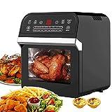 Freidora de aire de 12 l, 1600 W, mini horno, panel táctil electrónico, cocina de aire, horno de convección con 6...