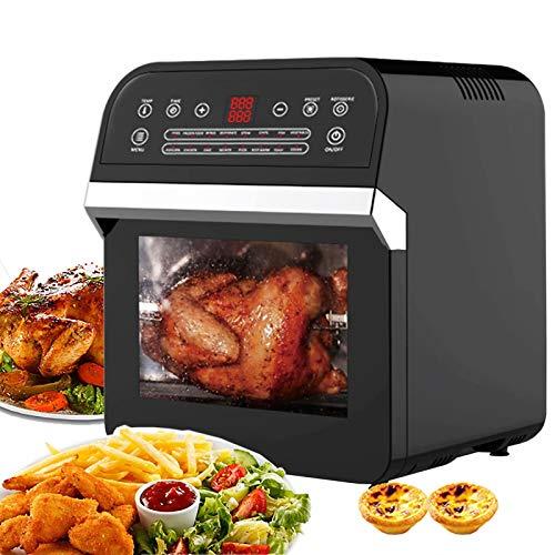 Freidora de aire de 12 l, 1600 W, mini horno, panel táctil electrónico, cocina de aire, horno de convección con 6 accesorios, todo en uno, horno freidora sin aceite para pollo, papas fritas y pizza