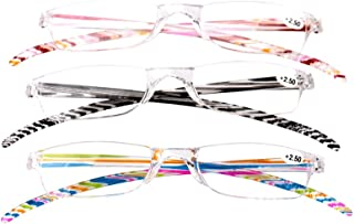 SOOLALA 3-Pair Value Pack Striped Integrated PC Magnifying Reading Glasses
