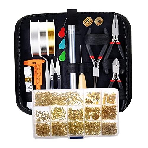 harayaa Kit de suministros para la fabricación de joyas con herramientas para la fabricación de joyas, alambres para joyería, fornituras de joyería y manos de